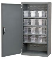 10A020 Cabinet, Gray, Steel Door, 12 Clear Drawers