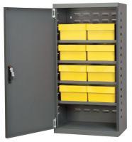10A023 Cabinet, Gray, Steel Door, 8 Yellow Drawers