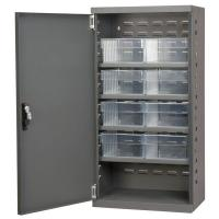 10A025 Cabinet, Gray, Steel Door, 8 Clear Drawers