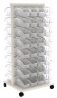 10A039 Mobile Louvered Floor Rack w/64 Bins
