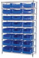 10A054 Bin Shelving, Wire, 48X18, 24 Bins, Blue