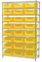 10A055 Bin Shelving, Wire, 48X18, 24 Bins, Yellow