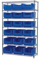 10A057 Bin Shelving, Wire, 48X18, 18 Bins, Blue