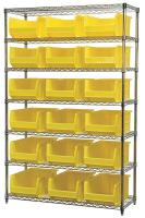 10A058 Bin Shelving, Wire, 48X18, 18 Bins, Yellow