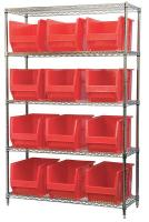 10A059 Bin Shelving, Wire, 48X18, 12 Bins, Red