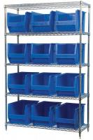 10A060 Bin Shelving, Wire, 48X18, 12 Bins, Blue