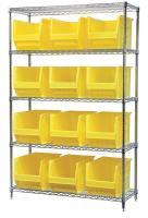 10A061 Bin Shelving, Wire, 48X18, 12 Bins, Yellow