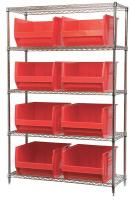 10A062 Bin Shelving, Wire, 48X18, 8 Bins, Red