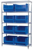 10A063 Bin Shelving, Wire, 48X18, 8 Bins, Blue