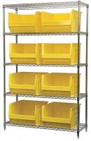 10A064 Bin Shelving, Wire, 48X18, 8 Bins, Yellow