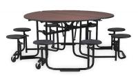 4NHN9 Folding Table, Cafeteria, Round, 60 In