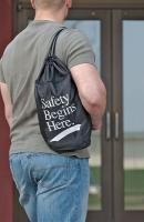 9JG95 Backpack, Drawstring, Safety Begins Here