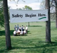 9CG10 Safety Banner, 3 x 10ft., SAF Begins Here